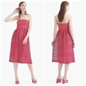 J Crew Pink Strapless Mixed Lace Midi Dress 8P